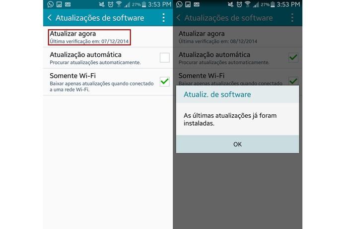 """Em """"Atualizações de software"""", escolha """"Atualizar agora"""" no Galaxy Note 4 (Foto: Reprodução/Lucas Mendes)"""