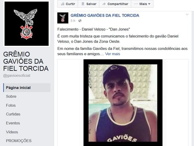 Gaviões da Fiel lamentou a morte de Daniel no Facebook (Foto: Reprodução/Facebook/Gaviões da Fiel)