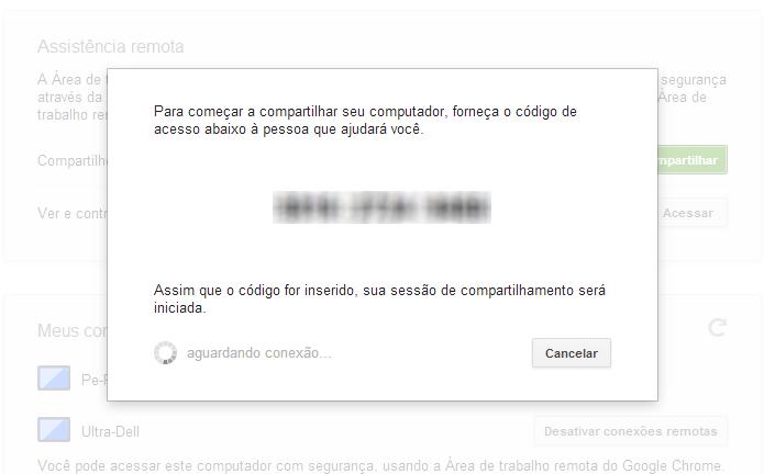 Forneça o código de acesso para quem vai controlar seu PC (Foto: Reprodução/Paulo Alves)