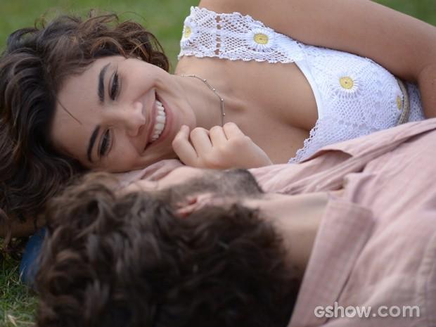 A dupla se diverte em cena (Foto: Raphael Dias/TV Globo)