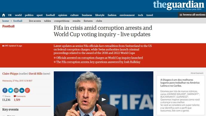 Reprodução Jornal The Guardian Inglaterra escândalo FIFA (Foto: Reprodução)