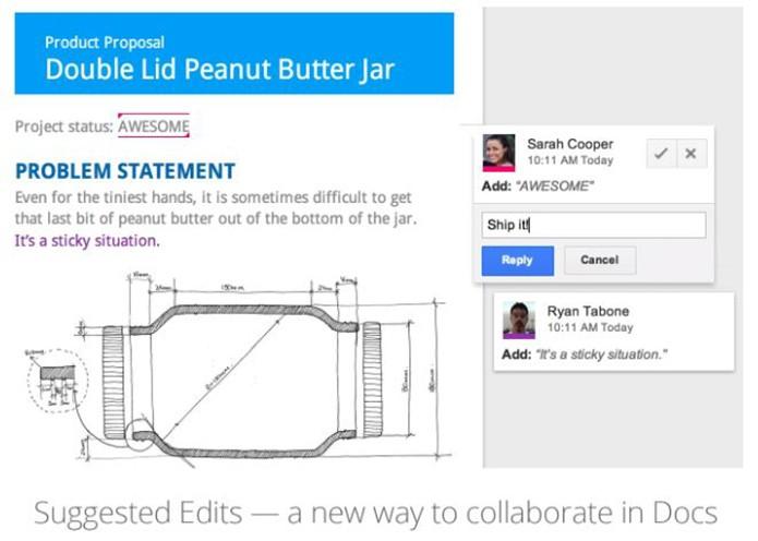 Google Docs agora aceita aprovação ou recusa de edições colaborativas e também comentários (Foto: Divulgação/Google)