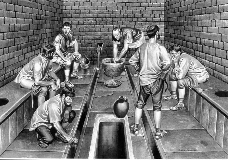 Apenas as pessoas de alto poder aquisitivo tinham banheiros em casa; o restante da população usava os banheiros públicos (Foto: Reprodução)