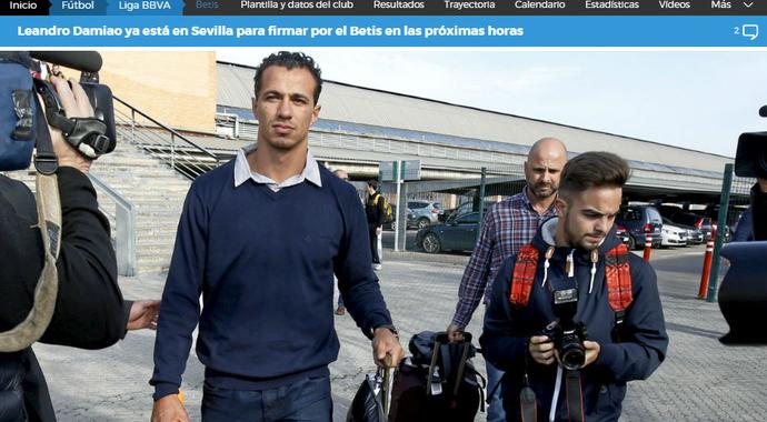 Leandro Damião em Sevilha para fechar com o Betis (Foto: Reprodução / Marca)