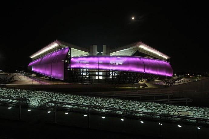 Arena pantanal ganha fachada rosa (Foto: Edson Rodrigues/Secopa)