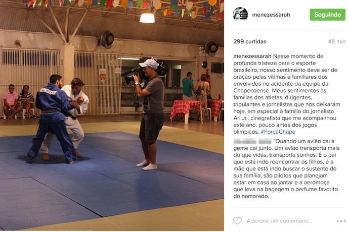 Sarah Menezes homenageia cinegrafista Ari Jr. (Foto: Reprodução/Instagram)