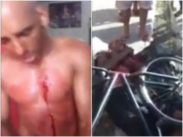 Boxeador foi ferido no peito e no braço com golpes de faca (esquerda); à direita, assaltante foi agredido até desmaiar (Foto: Flávio Leal/Arquivo pessoal)