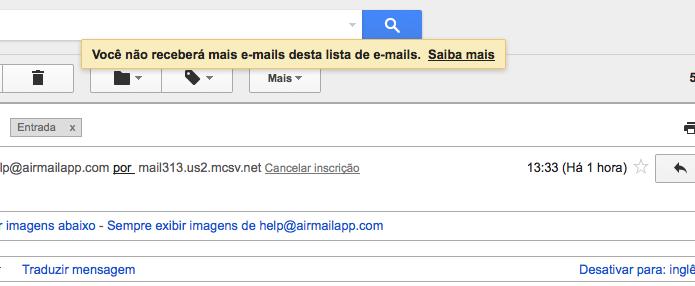 Mensagem do Gmail confirmando o cancelamento (Foto: Reprodução/Edivaldo Brito)