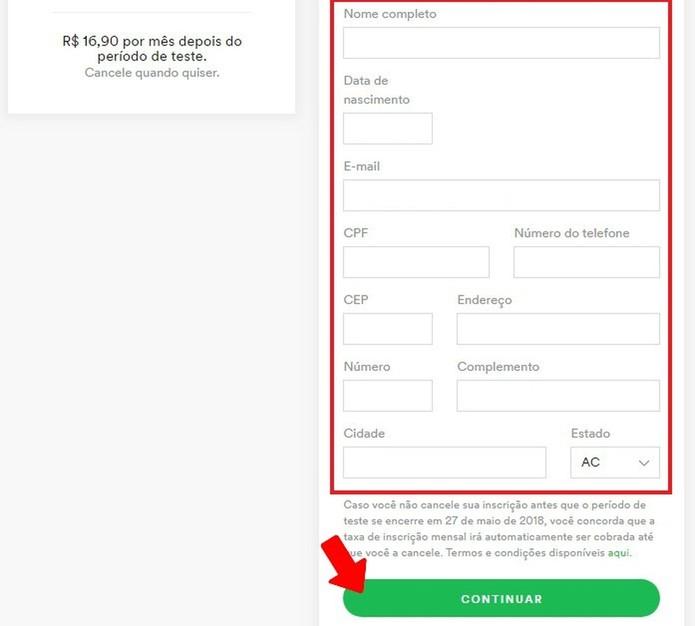 Preencha o formulário de dados pessoais para mudar para plano Premium no Spotify (Foto: Reprodução/Rodrigo Fernandes)