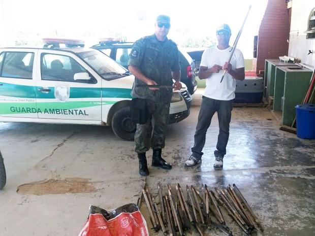 Guarda Ambiental apreendeu armadilhas de preás (Foto: Ascom Macaé/Divulgação)