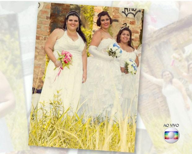 Meninas também fizeram ensaio vestidas de noiva (Foto: TV Globo)