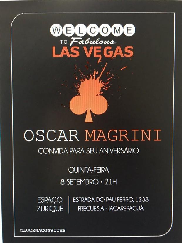 Convite do aniversário de Oscar Magrini (Foto: Reprodução)