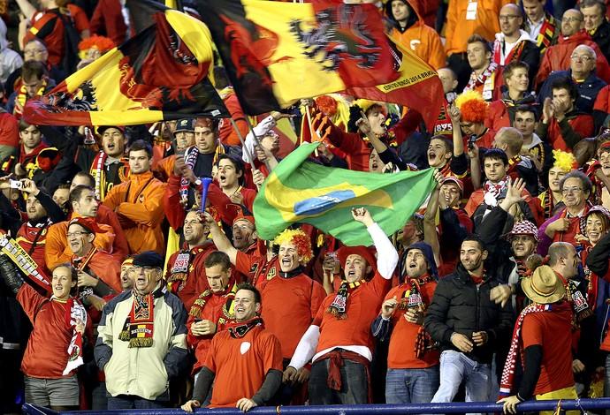 torcida comemoração Bélgica Copa do Mundo bandeira  (Foto: EFE)