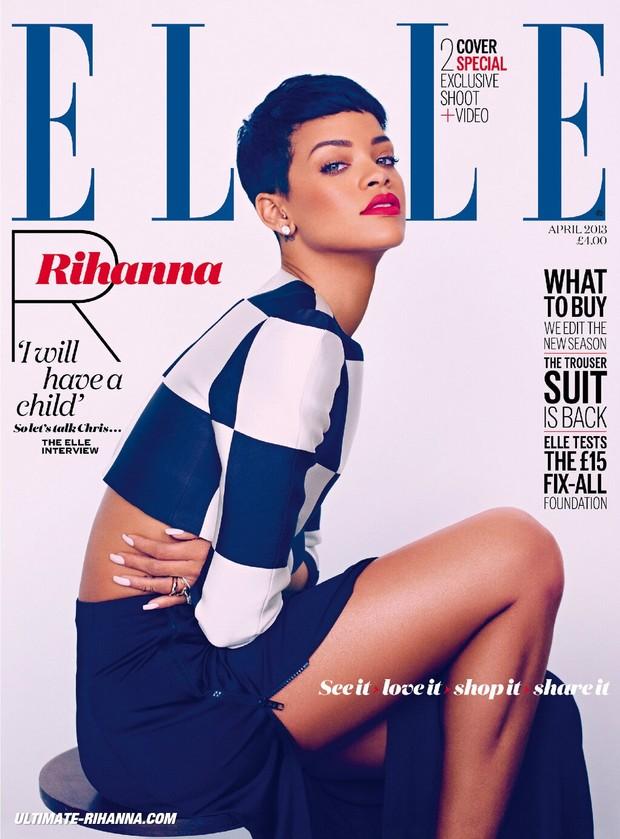 Rihanna na capa da Elle Britânica (Foto: Reprodução)