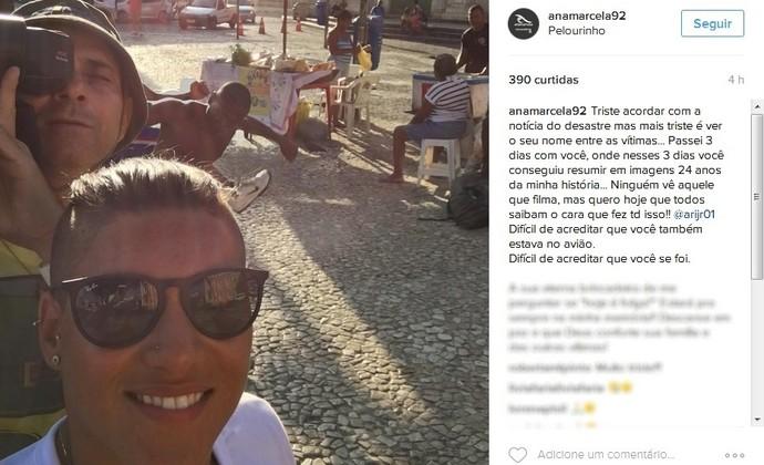 Ana Marcela Cunha posta homenagem ao cinegrafista Ari Júnior (Foto: Reprodução/Instagram)