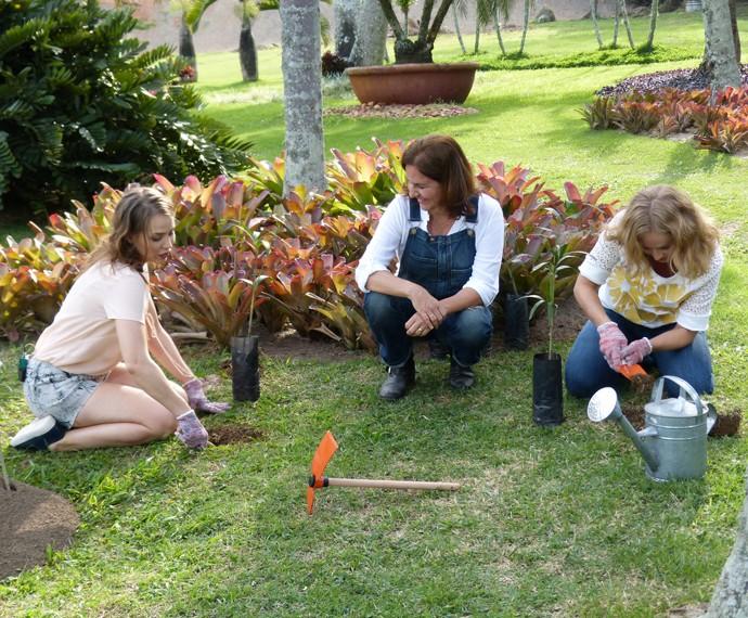 Letícia e Angélica plantam árvore no Estrelas (Foto: Nathália Gomes/Gshow)