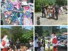 Policiais de Teresópolis, RJ, fazem entrega de brinquedos no Natal