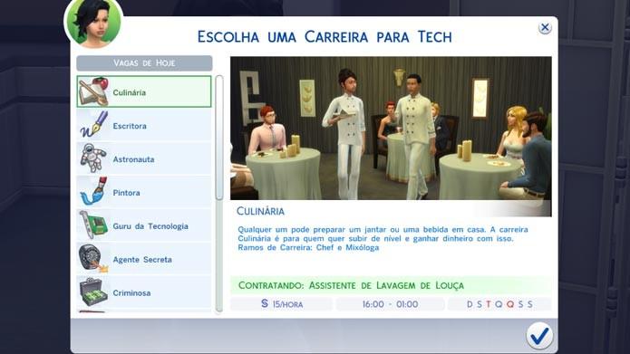 Em The Sims 4 é mais fácil encontrar uma carreira para seu Sim (Foto: Reprodução/ Tais Carvalho)