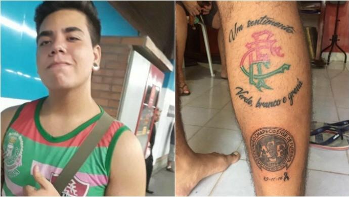 Torcedor do Fluminense faz tatuagem para homenagear a Chapecoense, em Boa Vista-RR (Foto: Reprodução/Facebook)