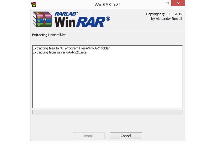 Instalação do WinRAR ocorre rapidamente, mas pode ser cancelada (Foto: Reprodução/WinRAR)