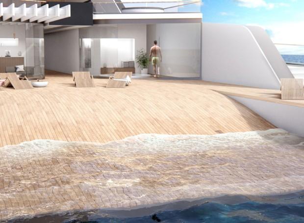 Com o movimento da embarcação, pequenas ondas serão formadas na popa  (Foto: Hareide Design Norway/Divulgação)