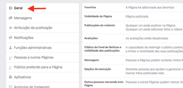 Opções gerais de uma página do Facebook (Foto: Reprodução/Marvin Costa)