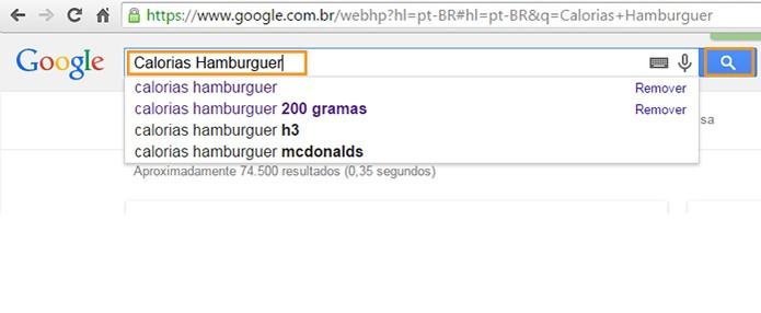 Faça a busca pela informação nutricional e nome do alimento no Google (Foto: Reprodução/Barbara Mannara)