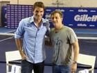Luciano Huck encontra Roger Federer em São Paulo