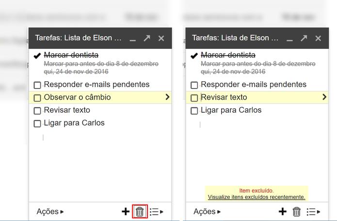 Usuário pode deletar tarefas que não deseja mais concluir (Foto: Reprodução/Elson de Souza)