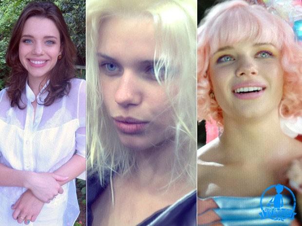 Bruna Linzmeyer antes, durante e depois da transformação (Foto: Meu Pedacinho de Chão/TV Globo)