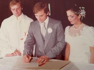 Dom Odilo Scherer em celebração do casamento do irmão, Paulino Scherer, na década de 1970. (Foto: Arquivo Pessoal/ Paulino Scherer)