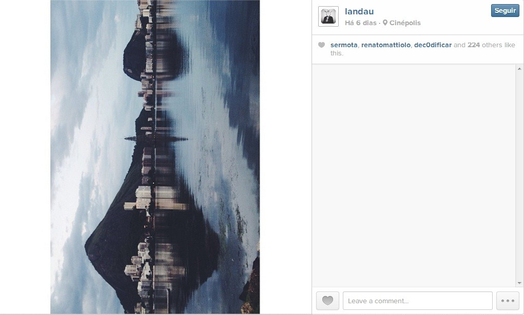 Exemplo de simetria (Foto: Instagram @landau // Reprodução)