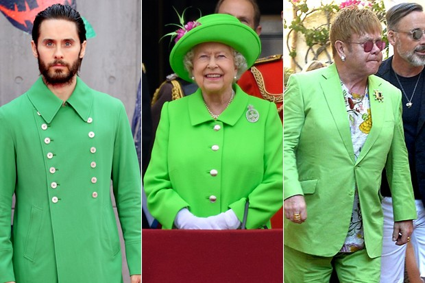 Jared Leto, rainha Elizabeth e Elton John: fãs de verde-limão (Foto: Getty Images/AKM-GSI)