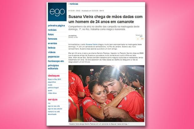 2009: Susana Vieira e Sandro Pedroso em camarote na Sapucaí (Foto: Reprodução/Internet)