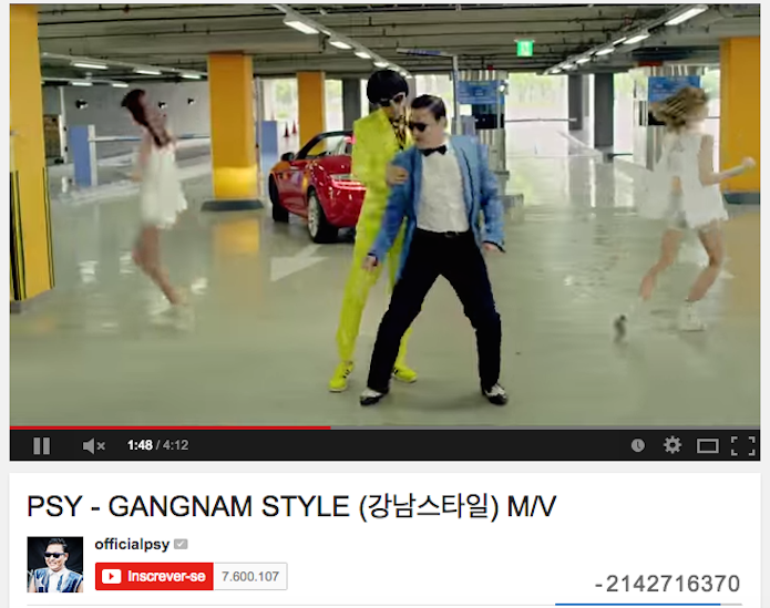 Sucesso de Gangnam Style quebrou o contador do YouTube (Foto: Reprodução)