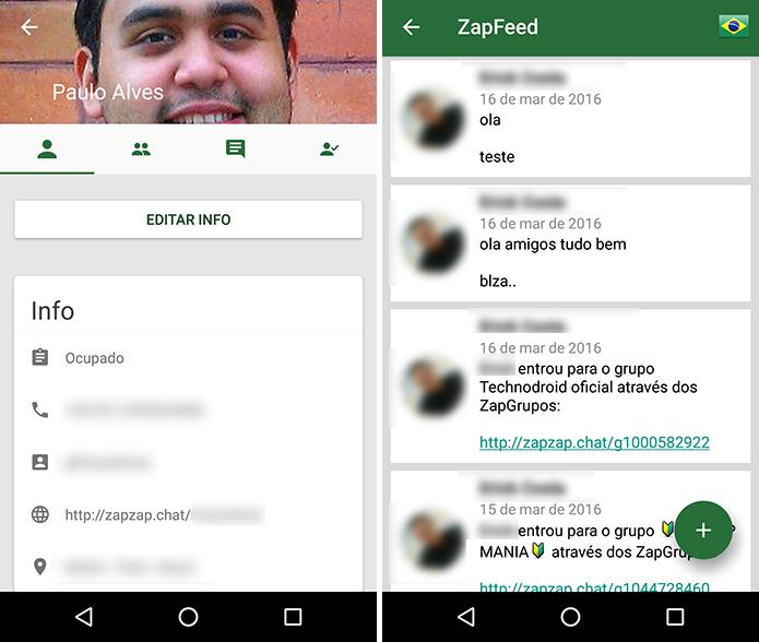 ZapZap tem perfil e feed com postagens de amigos adicionados (Foto: Reprodução/Paulo Alves)