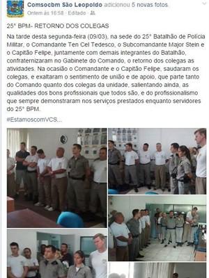 Postagem no facebook mostra fotos da festa (Foto: Reprodução/Facebook)