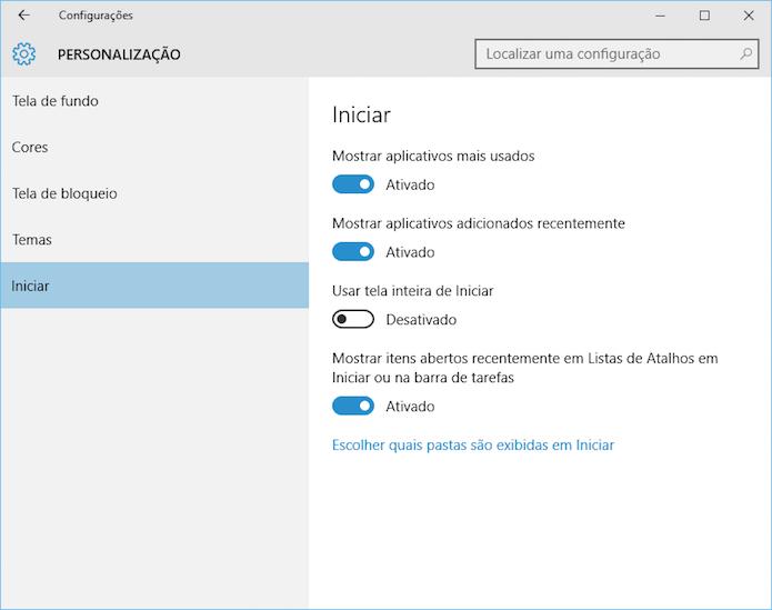 Configurações do menu Iniciar, no painel de controle (Foto: Reprodução/Helito Bijora)