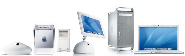 AirPort, 1999; Cube, 2000; iPod, 2001; iMac G4, 2002; Mac G5, 2003; MacBook, 2006  (Foto: Divulgação)