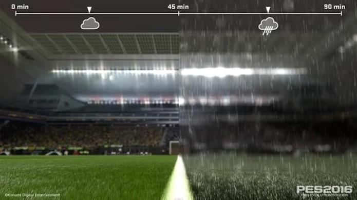 Mudança do clima no meio da partida será a grande cartada de PES 2016 (Foto: Reprodução/Konami)