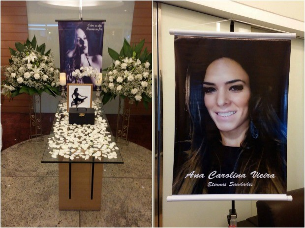 Cartazes e mensagens de familiares são expostos com cinzas de Ana Carolina em complexo velatório do Bairro Aldeota, em Fortaleza (Foto: Arquivo Pessoal)
