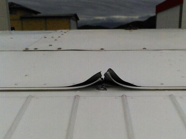 Tiro atingiu asa esquerda do Cessna em Santa Catarina (Foto: Voe Floripa/Divulgação)