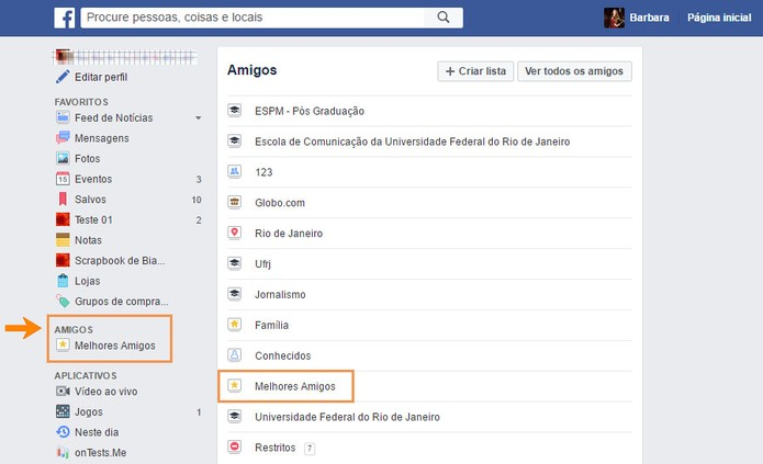 Acesse o menu da amigos no Facebook (Foto: Reprodução/Barbara Mannara) (Foto: Acesse o menu da amigos no Facebook (Foto: Reprodução/Barbara Mannara))