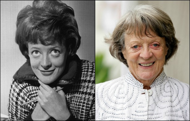 Maggie Smith aos 28 anos, em setembro de 1963, e atualmente (eternizada como a professora Minerva McGonagall da saga 'Harry Potter'), aos 79 anos de idade. (Foto: Getty Images)