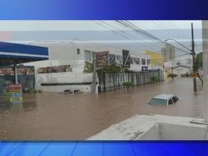 Carro ficou de baixo d'água durante alagamento em Avaré (Foto: Reprodução/TV TEM)