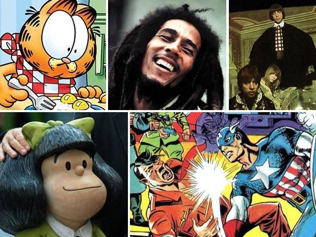 Garfield, Bob Marley, Mutantes, Mafalda e Capitão América já caíram em questões do Enem (Foto: Reprodução/Divulgação/AFP)