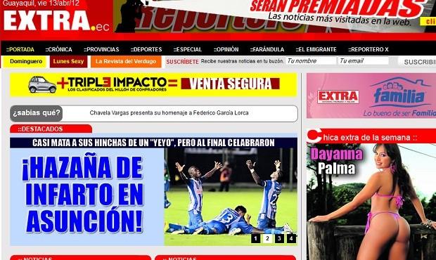 Jornal Extra, do Equador, destaca triunfo heroico do Emelec (Foto: Reprodução)