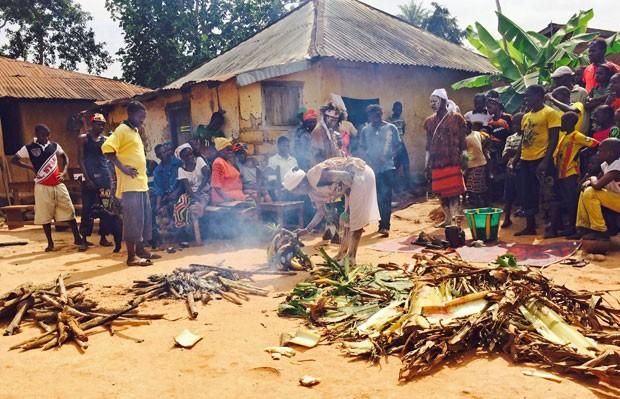 Curandeiros queimam pé de bananeira em vilarejo da Guiné que deu origem à epidemia de ebola (Foto: AP Photo/Youssouf Bah)