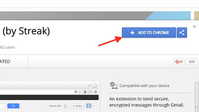 Opção para preparar o download da extensão Secure Mail for Gmail (Foto: Reprodução/Marvin Costa)