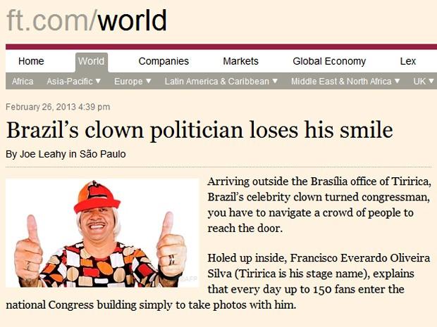 Imagem do site do 'Financial Times' com reportagem sobre o deputado Tiririca (Foto: Reprodução)